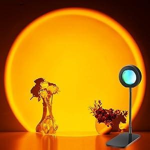 Sunset Lamp, Bedroom Decor Night Light Projector, Projector Sunset Light 360 Degree Rotation Projection Led Night Light for Photography/Selfie/Home/Living Room/Bedroom Decor, TYPE-C Charging (Sunset)