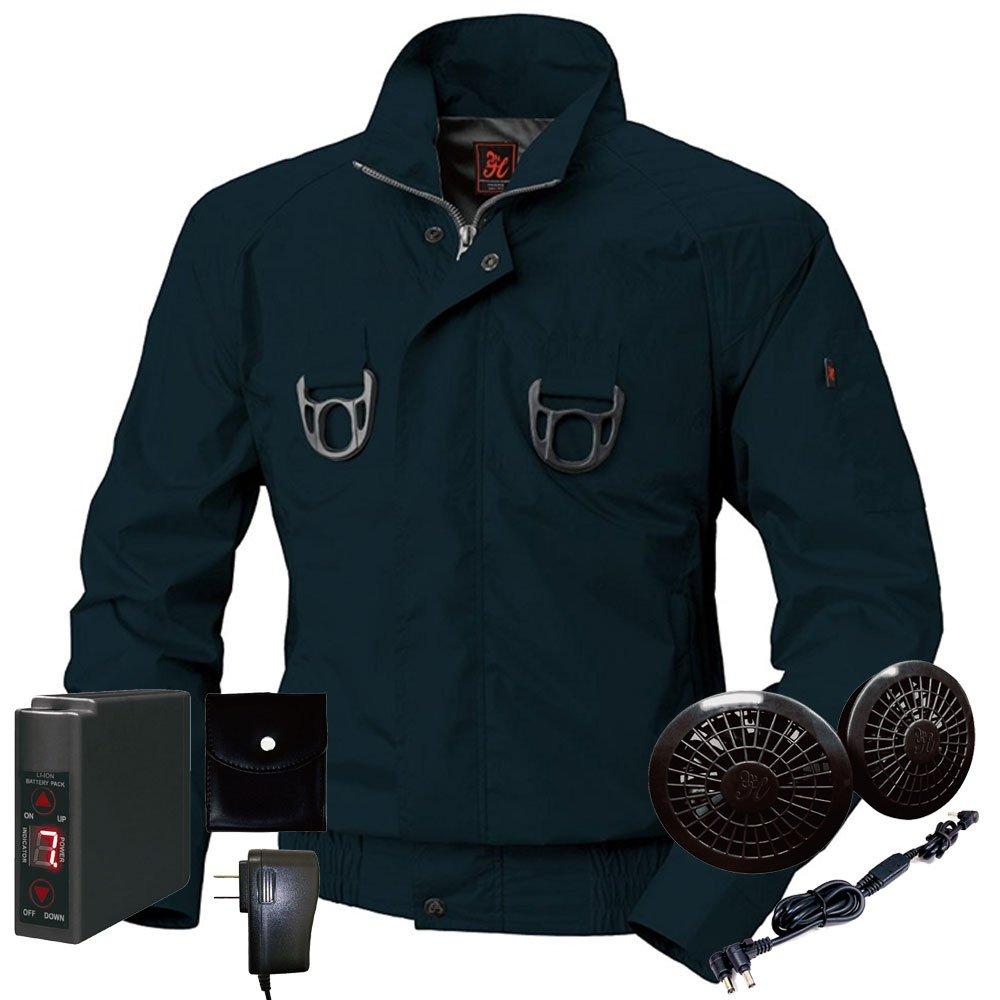 空調服快適ウェア フルハーネス対応ブルゾンバッテリーセット V733301set B072JKLHN7 M 1ネイビー 1ネイビー M