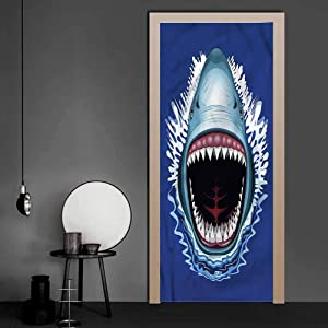 Door Sticker Shark, Attack Open Mouth Bite Vinyl Mural Art Sticke Easy to Use, Not Too Thin 17.1 x 78.7 Inch