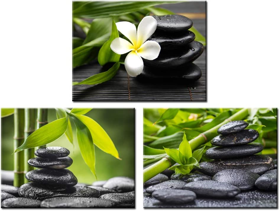 Nachic Wall Zen Pictures Wall Art Still Life Spa Stone Green Bamboo White Frangipani Flower Photo Prints on Canvas Spa Massage Treatment Painting for Bedroom Bathroom Decoration Ready to Hang