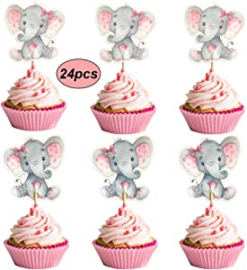 Double Sided Pink Elephant Cupcake Toppers It Is A Girl Baby Shower Cupcake Picks Decoration Baby Girl Birthday Party Supplies,Set of 24