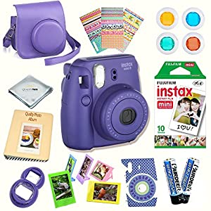Fujifilm Instax Mini 8 Camera + Fuji INSTAX Instant Film (10 SHEETS) + 14 PC Instax Accessories kit Bundle, Includes; Instax Case + Album + Frames & Stickers + Lens Filters + MORE (Grape)