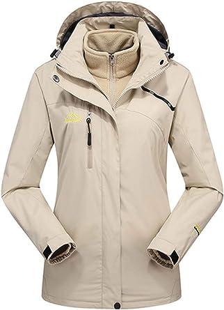 LOSRLY - Chaqueta de esquí para mujer, 3 en 1, con capucha ...