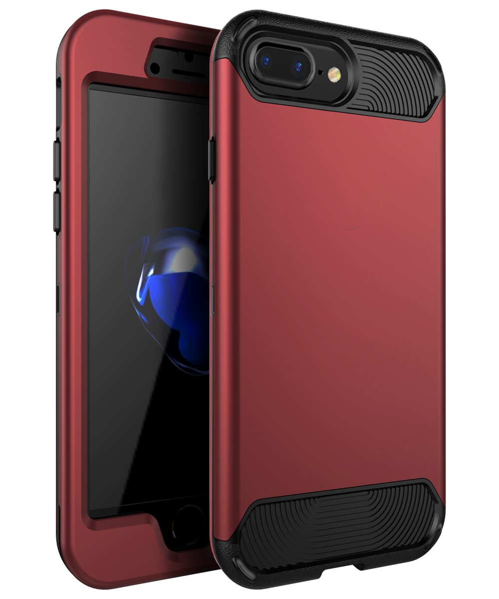 iPhone 7 Plus Case,iPhone 8 Plus Case,KAKA[Heavy Duty]Three Layer Hybrid Sturdy Armor High Impact Resistant Protective Cover Case For iPhone 7 Plus /iPhone 8 Plus(Only For 5.5''),Blush Gold/Black