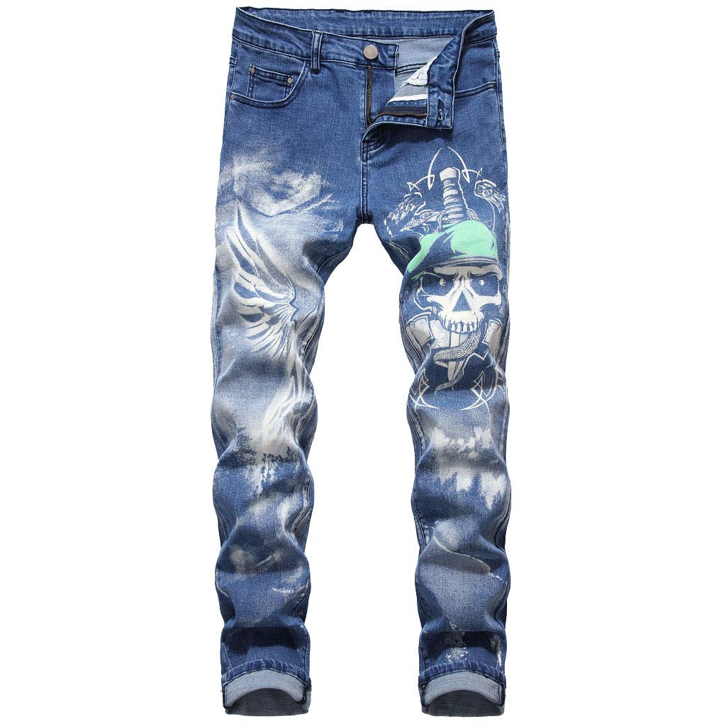 Men's 3D Personality Slim Color Print Stretch Denim Trousers, MmNote by MmNote mens shorts