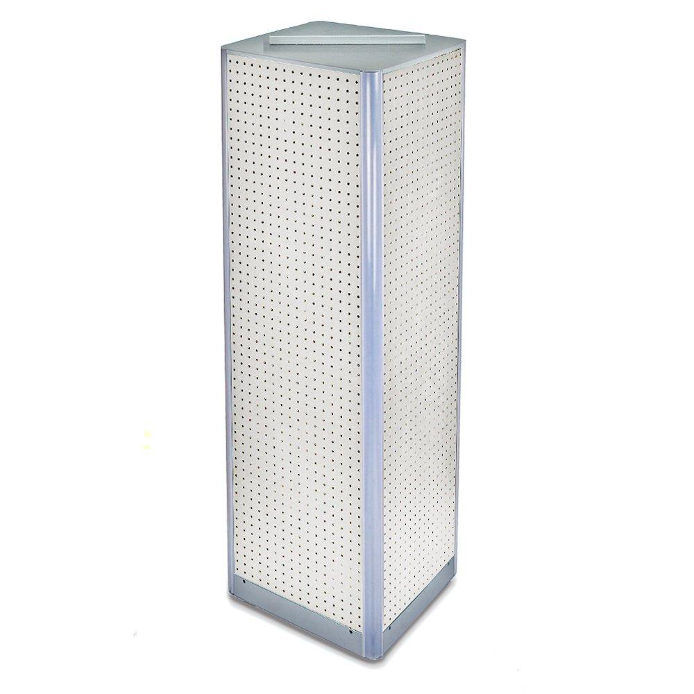 Azar 700405-WHT White Four-Sided Pegboard Spinner Floor Display