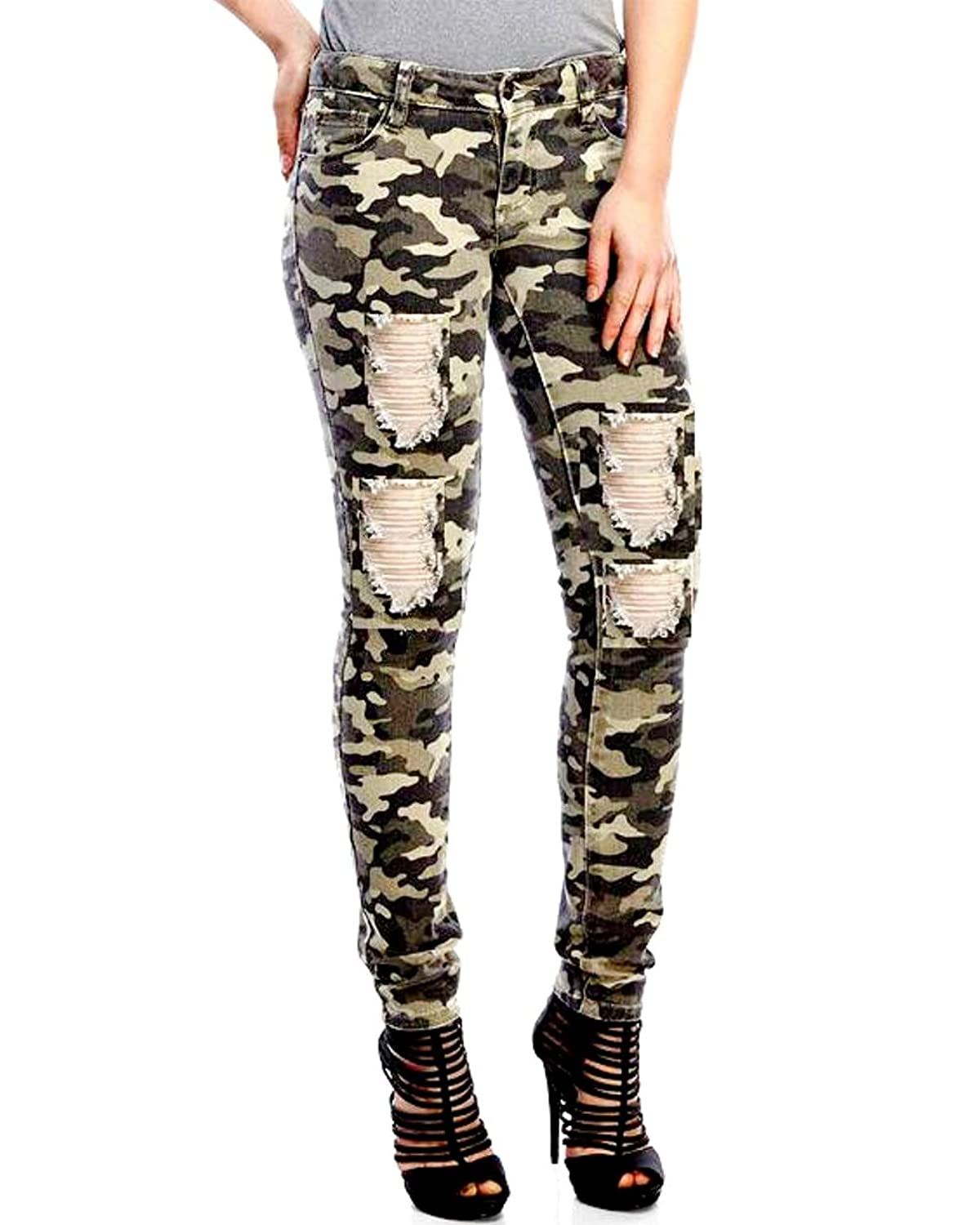 34e5e7b2489 IQR ladies Juniors Stretch Distressed Ripped Camo Camouflage Skinny JEANS  PANTS 85%OFF