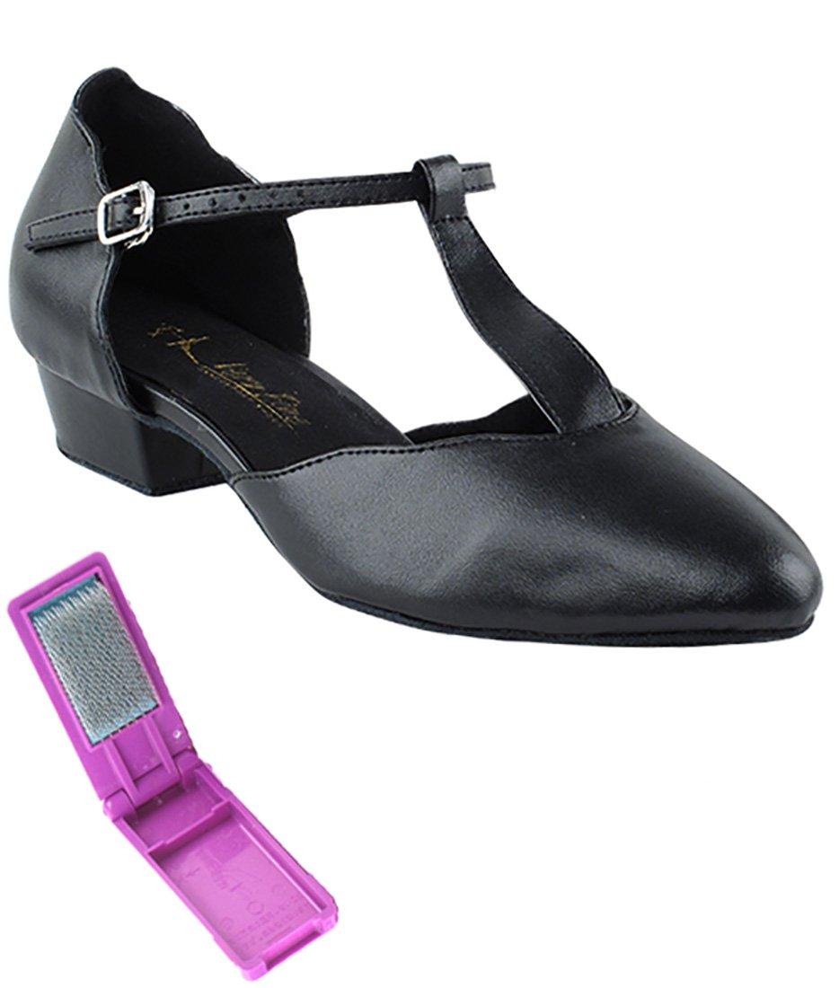 Very Fine Ballroom Salsa Practice Dance Shoes for Women 6819FT 1-inch Heel + Foldable Brush Bundle - Black Leather - 7.5