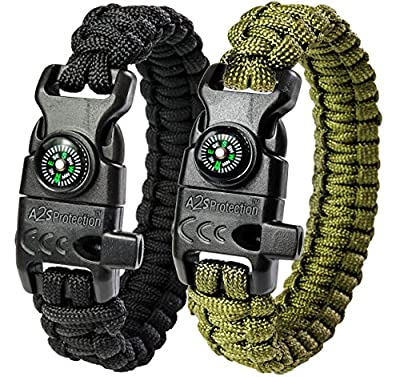 A2S Protection Paracord Bracelet K2-Peak - Survival Gear Kit with Embedded Compass, Fire Starter, Emergency Knife & Whistle