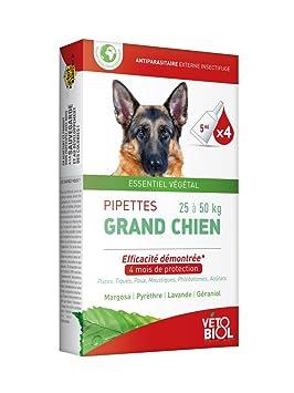 vétobiol pipetas perro grande 25 a 50 kg 4 pipetas: Amazon.es: Productos para mascotas