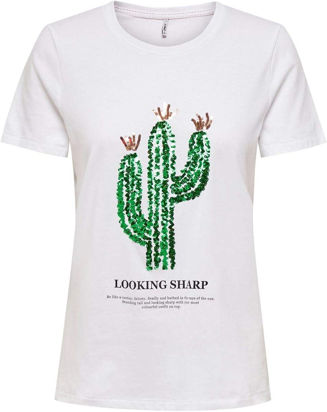 Only Onlkita Life Reg S/s Cactus Top Box Jrs Camiseta, Blanco Brillante, S para Mujer: Amazon.es: Ropa y accesorios
