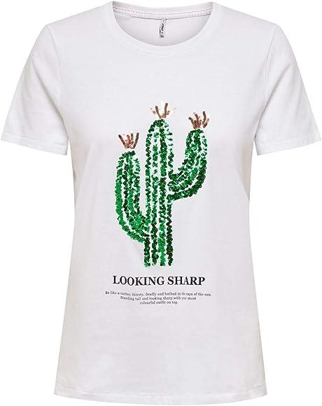 Only Onlkita Life Reg S/s Cactus Top Box Jrs Camiseta, Blanco Brillante, M para Mujer: Amazon.es: Ropa y accesorios