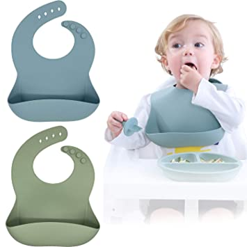 Blissbury Silicone Baby Bibs Set of 2 BPA Free Waterproof Soft Durable Adjustable Silicone Bibs for Babies /& Toddlers Blue//Yellow