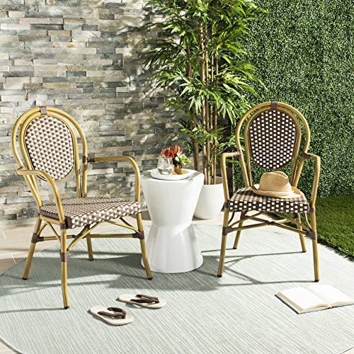 Safavieh PAT4014C-SET2 Outdoor Collection Rosen Brown and White French Bistro Stacking Arm - Stacking Chair Cafe