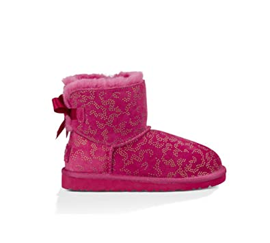 UGG K Mini Bailey Bow Metallic Conifer Red Violet Pink Size: 11