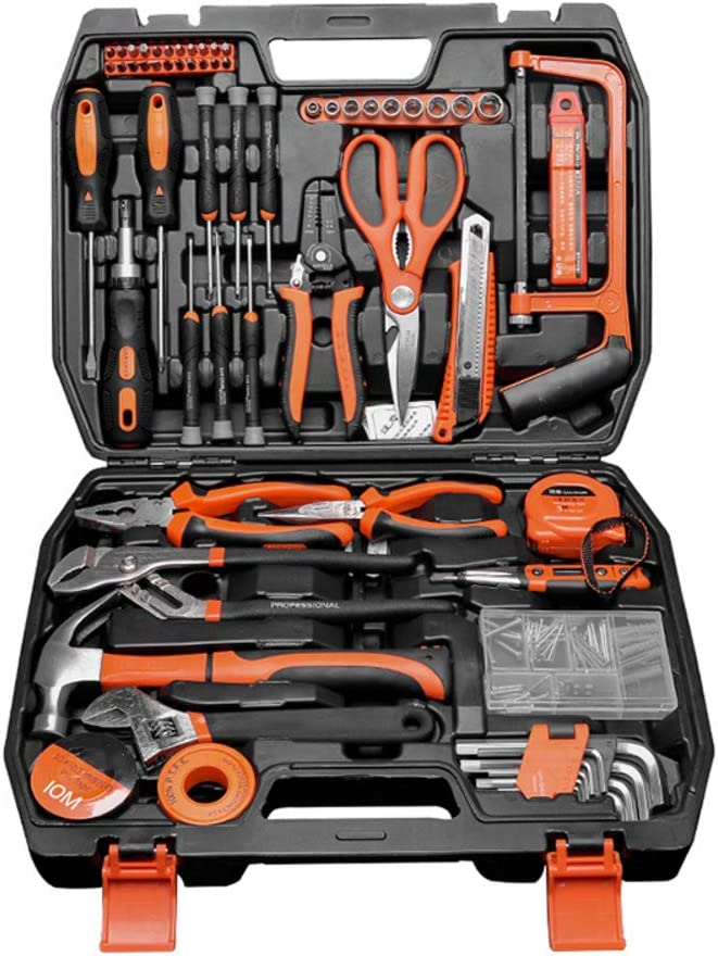 68 Piece Tool Kit Home Repair Tool Combination Package Mixed General Household Hand Tool Set With Plastic Toolbox Storage Case-68pcs 40x30x9cm(16x12x4inch)