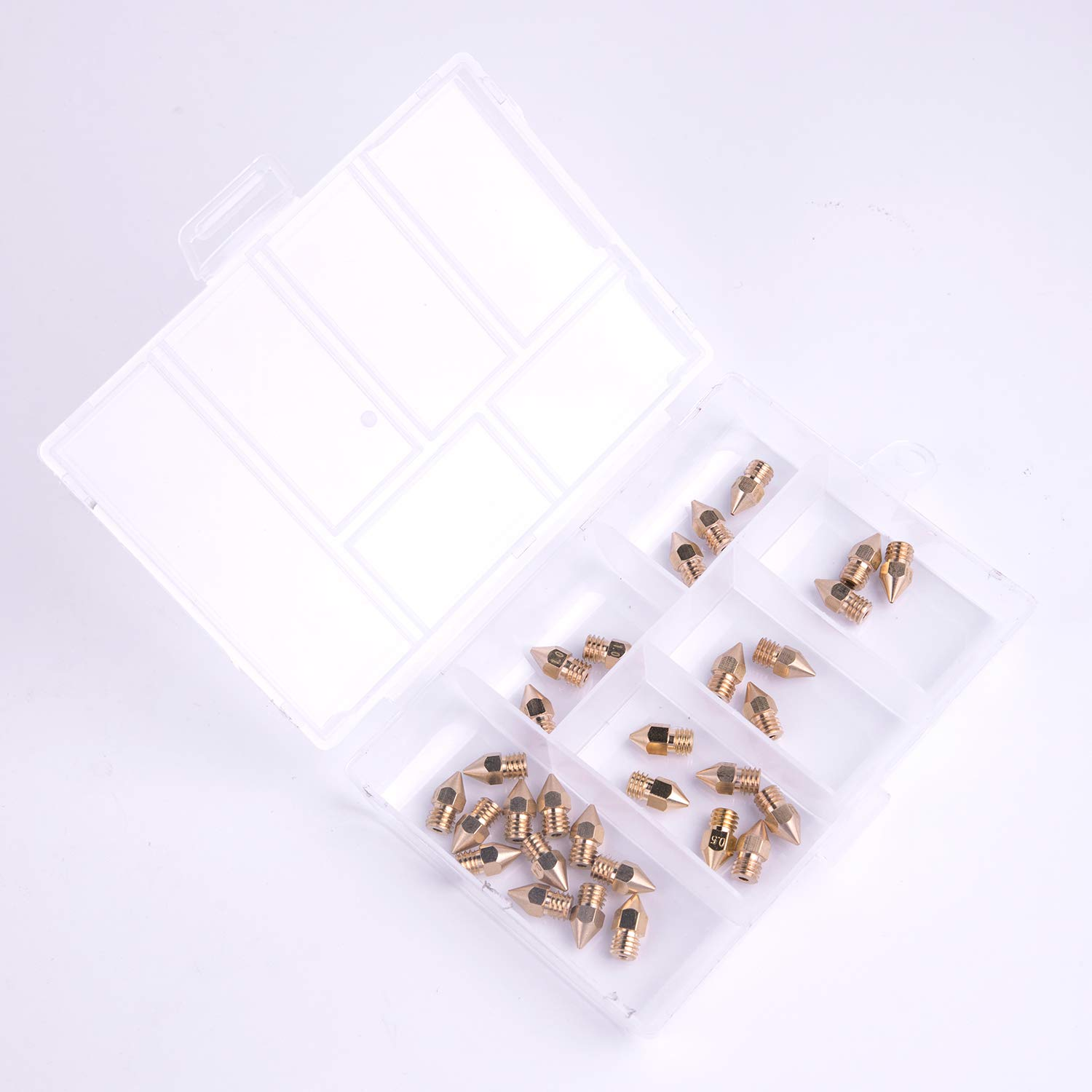 30 Pack 3D Printer Nozzles 0.2mm 0.3mm 0.4mm 0.5mm 0.6mm 0.8mm 1.0mm Print Head with Storage Box for Makerbot Creality CR-10 by Standie