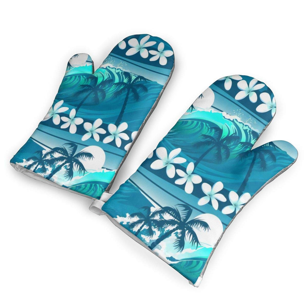 not Blue Tropical Surfing with Palm Trees Oven Mitts with Polyester Fabric Printed Pattern,1 Pair of Heat Resistant Oven Gloves for Cooking,Baking,Grilling,Barbecue Potholders