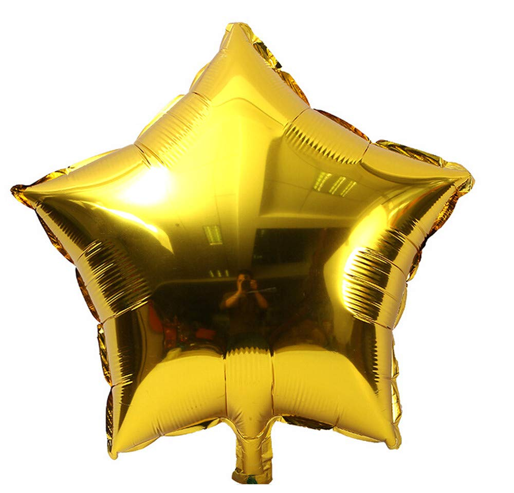 Jeeke 5 Pcs 18 inch Foil Star Balloons Decor for Wedding Party Baby Shower Birthday Decor (Gold, 5 Pcs/Set)
