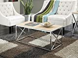 Convenience Concepts Belaire Coffee Table, Chrome/Weathered White