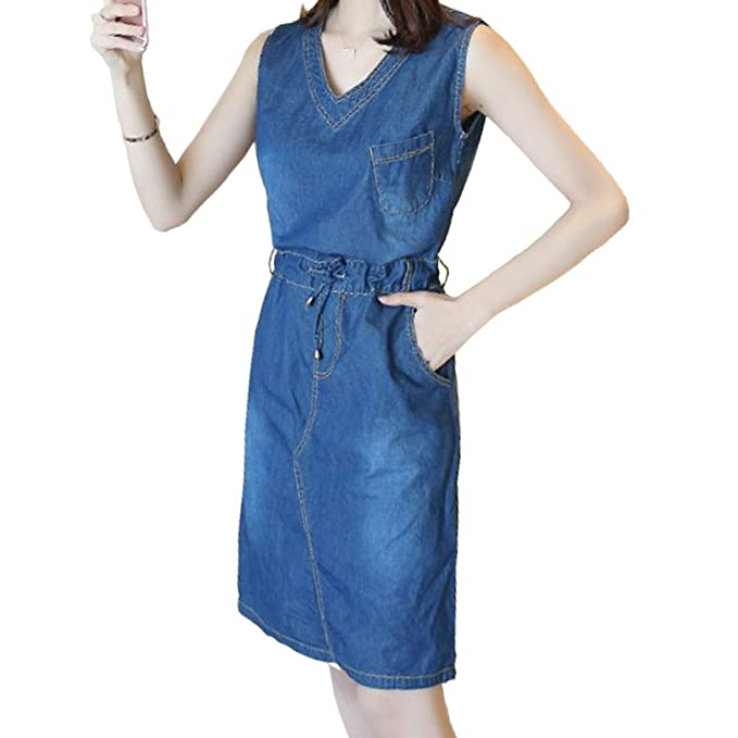 Dorkasde Damen Kleid Mädchen Jeanskleid ärmellos V Ausschnitt Dünn