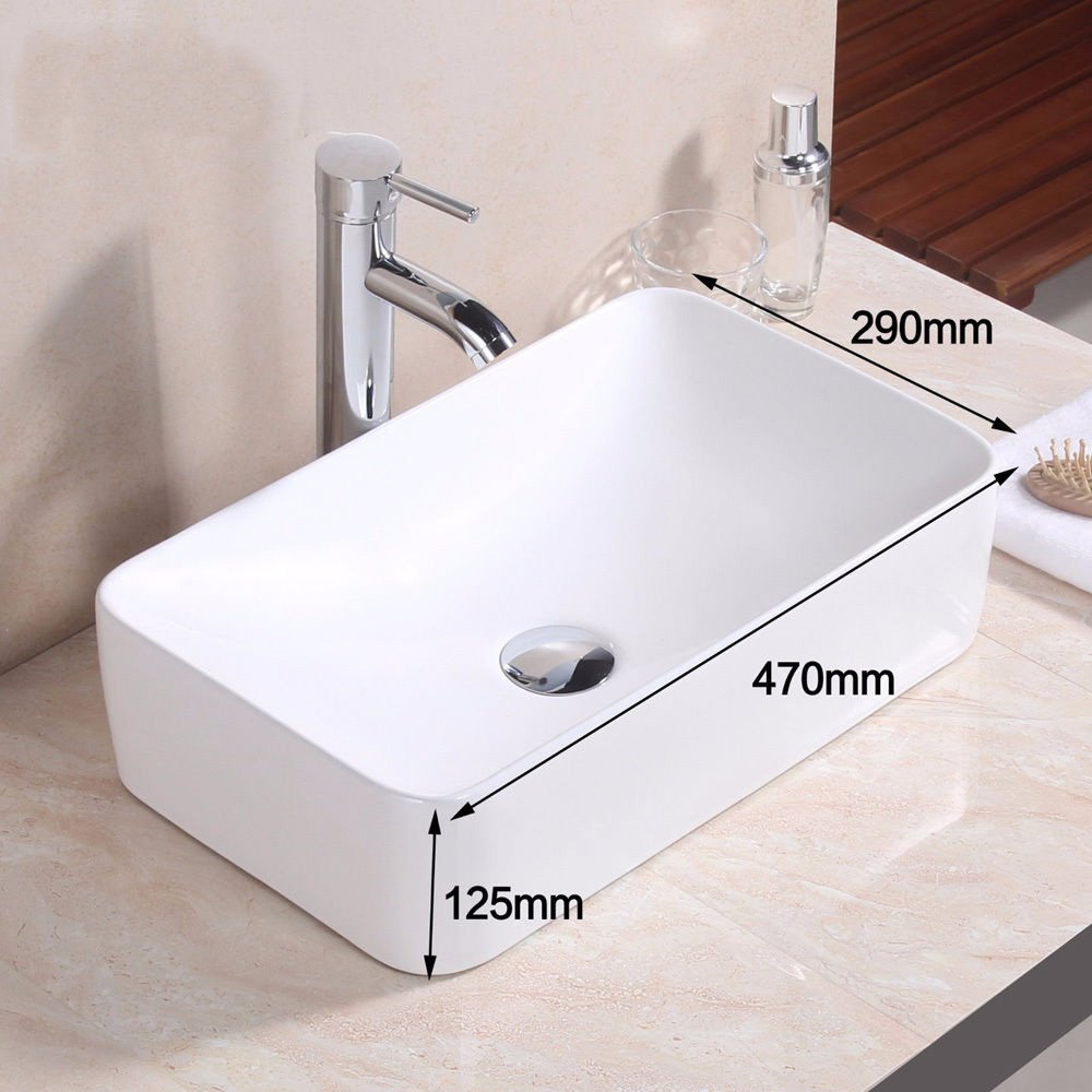 FELiCON Bathroom Sink Countertop Basin Wash Basin Rectangle Ceramic Contemporary Shaped Bowl Top Modern Design(Ship from UK) (Rectangles)