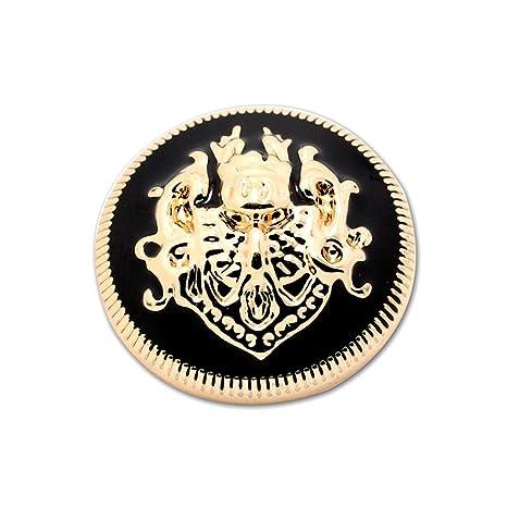 Set de 10 botones de metal, oro y negro, para abrigos y jerséis,