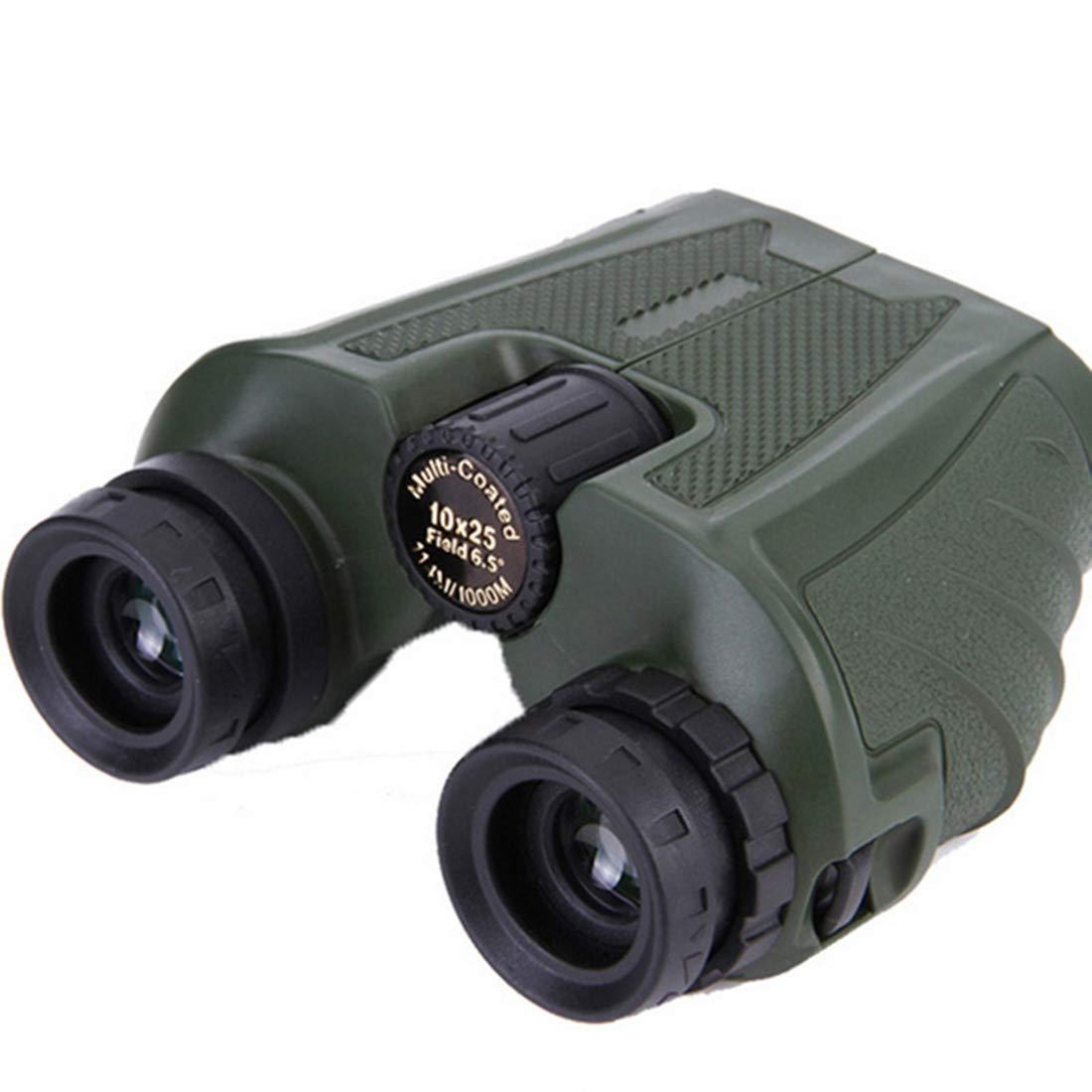 UICICI Prismáticos de Alta Potencia 10x25 HD Visión Nocturna con poca luz Gafas de visión para Uso en Exteriores (Color : Green)