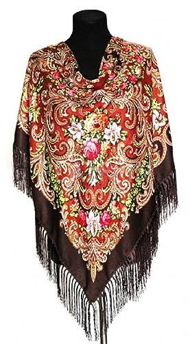 CHALES Y BUFANDAS RUSAS (Marrón)110x110cm+12cm cepillos, 80 %lana,mujer