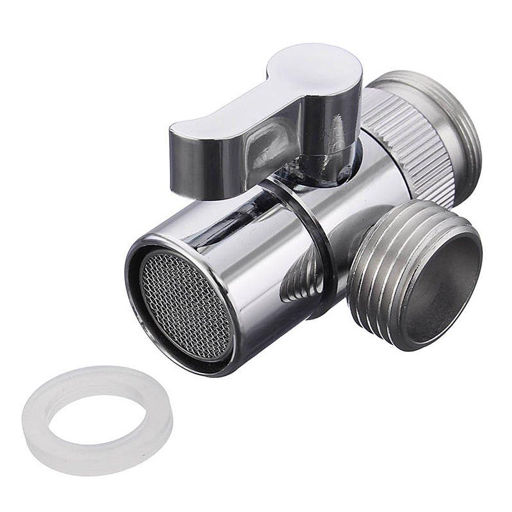 Bigwinner - Dispensador de vá lvula para grifo (lató n, acero inoxidable, 2 ví as) (Desviador de tuberí a de agua) 2 vías) (Desviador de tubería de agua) ONEZERO
