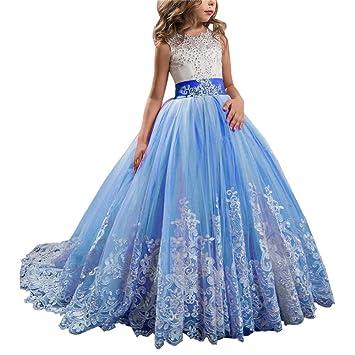 3163d3bc54 Cvbndfe Suave Vestido de Novia de Encaje Infantil Tutu Vestido de Princesa  Cumpleaños de niña Vestido