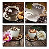 Purple Verbena Art 4pcs/set Coffee Bean and Cappuccino with Flower Pictures Photo Prints on Canvas Wall Art Paintings, Modern Giclee HD Artwork for Shop Kitchen Decor, Stretched and Framed (30x30cm)
