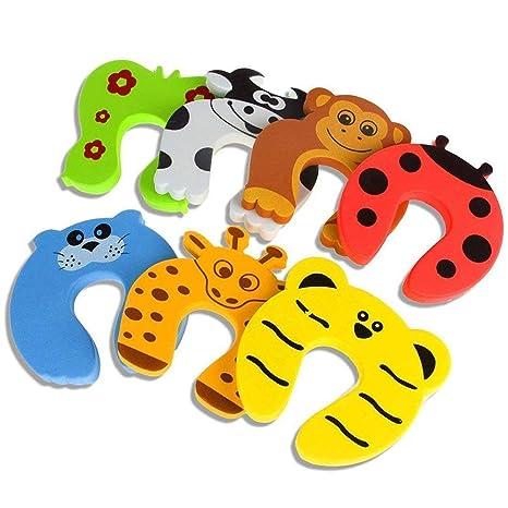 Tope para puerta, 7 piezas, protector de dedos de gato de goma decorativo, con bisagras para puerta, cojín de seguridad para niños