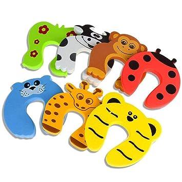 Tope para puerta, 7 piezas, protector de dedos de gato de goma decorativo, con bisagras para puerta, cojín de seguridad para niños: Amazon.es: Bebé