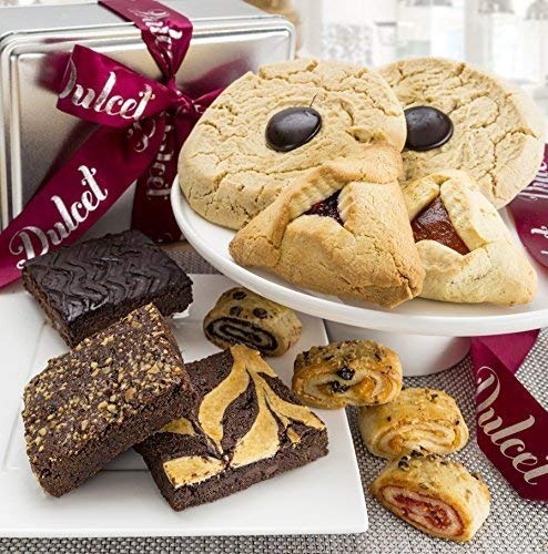 Dulcet Gift Baskets Cookie and Brownie Assortment Tin  Delicious Fresh Baked Cookie Snacks  Gourmet Real Chocolate Fudge Brownie  Yummy Flavors For Every Special Occasion  Valentines Delivery