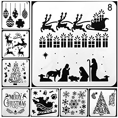 Painting Stencils,Christmas Drawing Stencils,8 Pcs Different Christmas Style Plastic Scale Template Sets with Merry Christmas for DIY Painting on Wood, Craft Cards Making