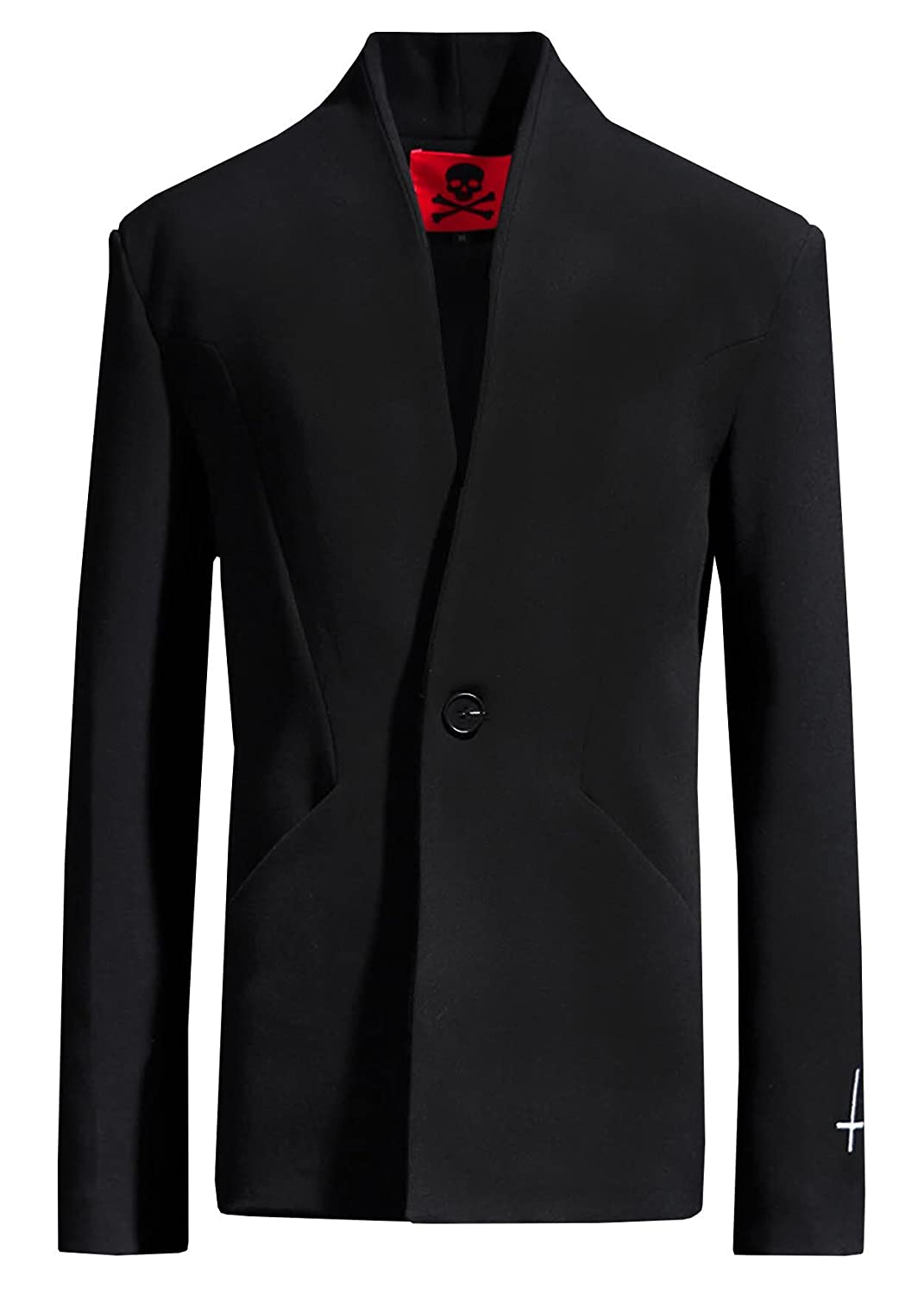 ByTheR Mens Regular Reverse Cross Lapelless Single Button Black Minimal Blazer P000CKSP-$P