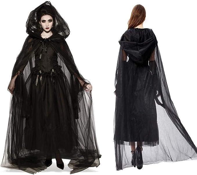 Halloween Damen Hexe Kleider Vampir Cosplay Kostüm Gotik Lange Ärmel Maxikleid
