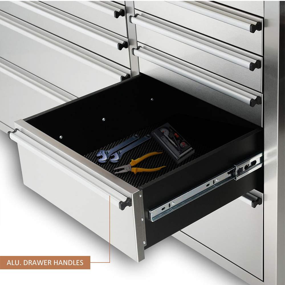 Thor Kitchen HTC9624W 96 Wide 24 Drawer Stainless Steel Box Anti-Fingerprint Tool Chest with Work Station Cabinet and Kitchen Workbench Organizer