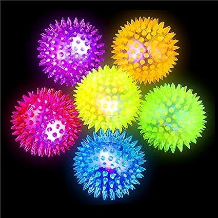 German Trendseller ® 12 x balles rebondissantes à picots┃ LED clignotante┃ jeux lumineuses┃ l'anniversaire d'enfant┃ idée cadeau┃pochette cadeau