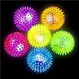 German Trendseller® - 6 x LED Stachel - Bälle┃ 6 cm ┃ Leuchtflummi ┃ Stachelball ┃ Kindergeburtstag