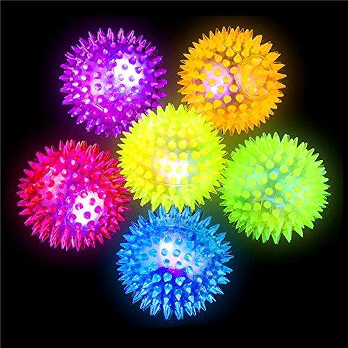 German Trendseller® 6 x pelotas con púas ┃bolas LED ┃flummi ┃fiestas infantiles┃ idea de regalo┃cumpleaños de niños┃ 6 unidades