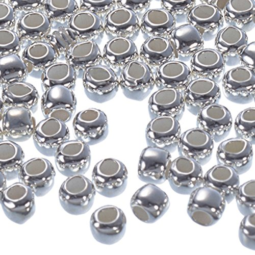 HooAMI 100pcs 925 Sterling Silver Smooth Seamless Beads Jewelry Findings 2mm (Findings 925)