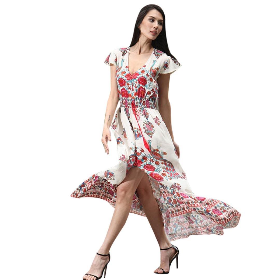 TWIFER Frauen Retro Blumenpokal Kurzarm V-Ausschnitt Abendkleid Kleider   Amazon.de  Bekleidung e80c8820f0