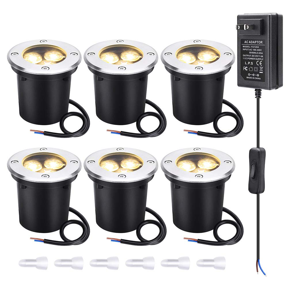 LCARED Low Voltage Landscape Lights 12V-24V LED Landscape Lighting 6W in Ground Waterproof Pathway Lights Warm White Outdoor spotlights for Garden,Yard,Patio,Step, Deck(6 Pack) by LCARED (Image #1)