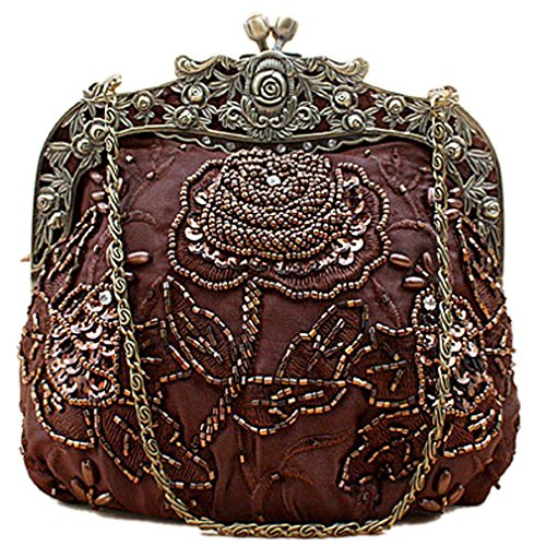 Women's Evening Vintage Vintage Sequin Belsen Belsen Beaded Handbags Flower Brown Women's f8qtBxIw8