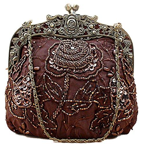 Belsen Women's Vintage Beaded Sequin Flower Evening Handbags Brown