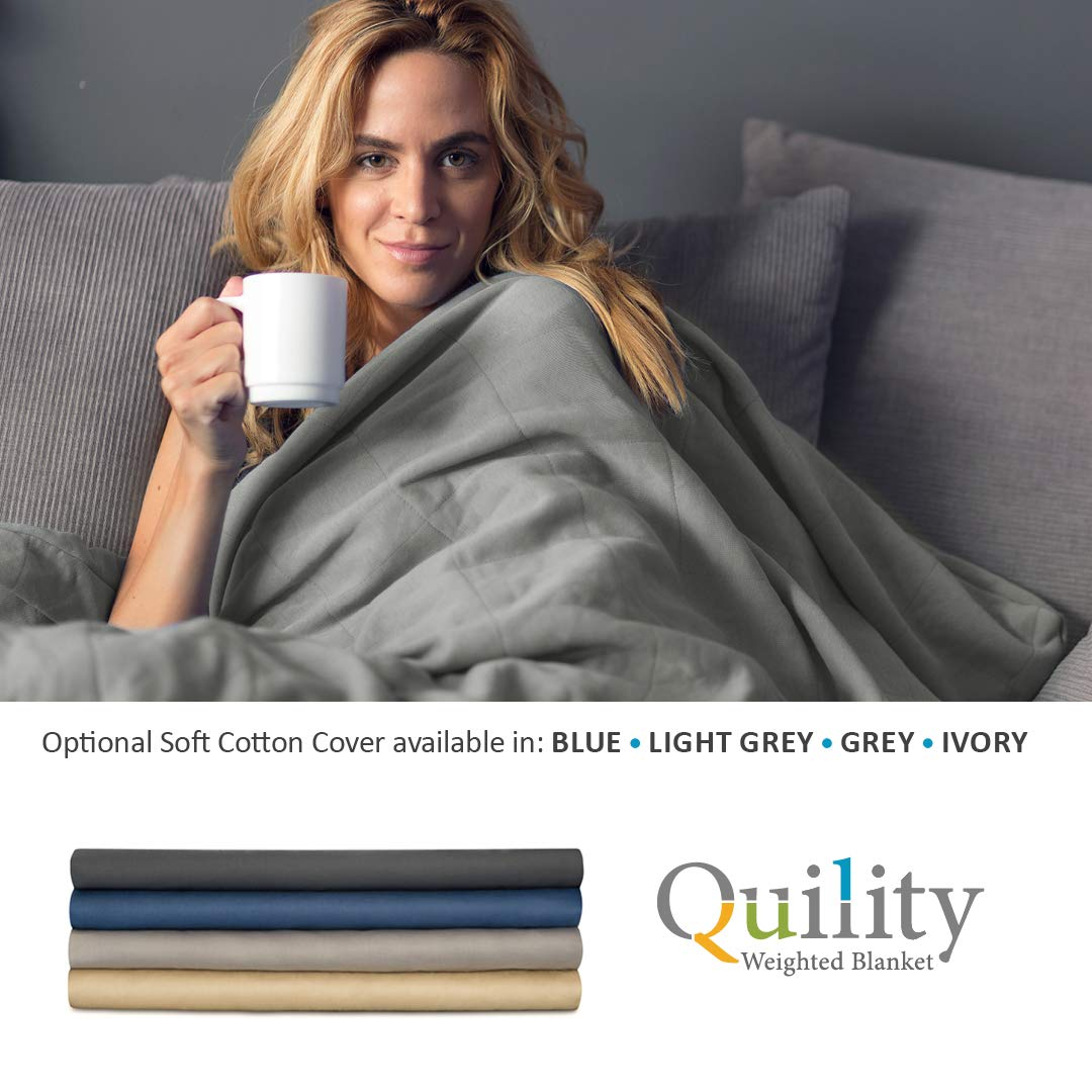 Quility Premium Adult Removable Duvet Cover for Weighted Blanket   60''x80''   Full Size Bed   100% Cotton Cover Fabric   Blue by Quility (Image #3)
