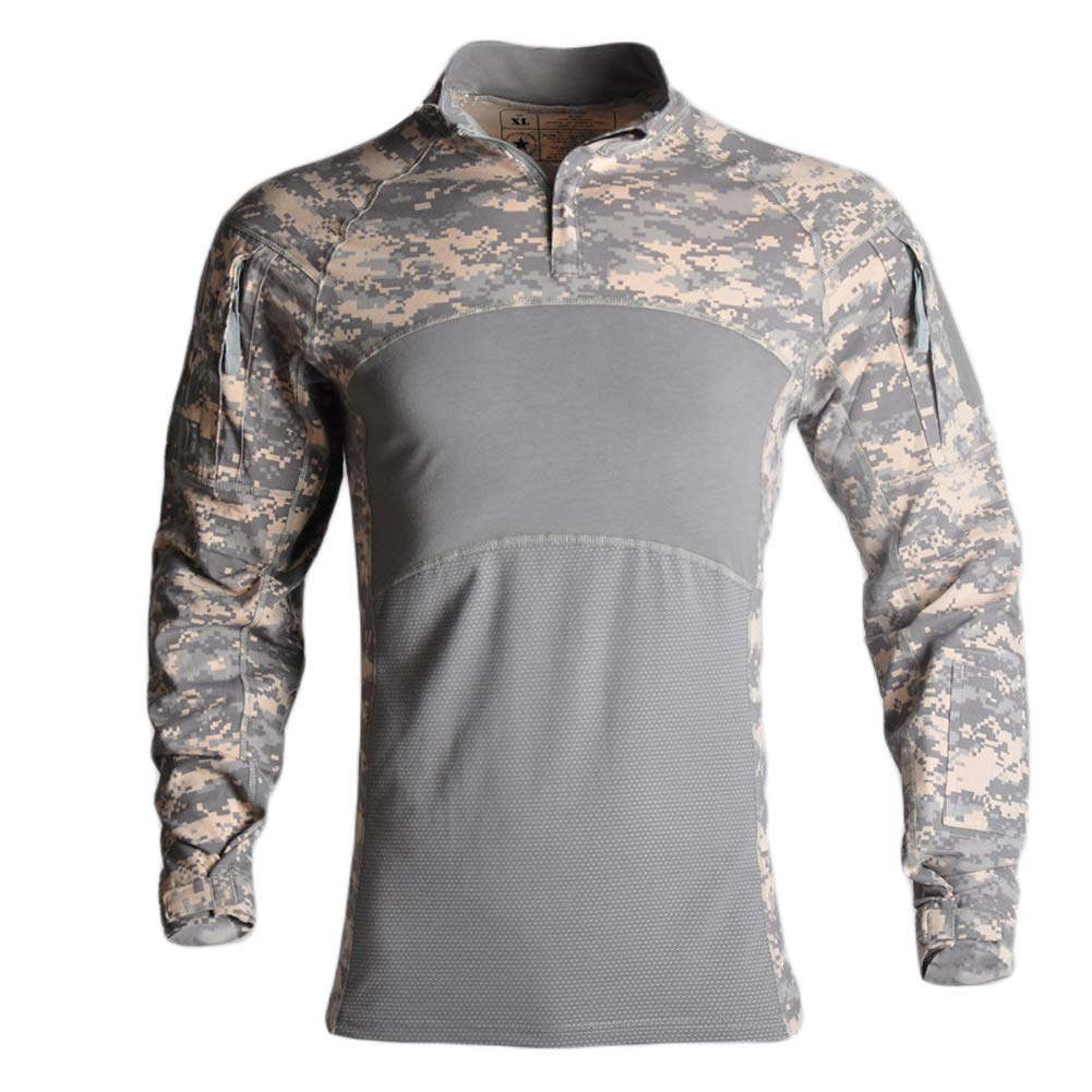 YOUNGFASHION Men's Slim Fit Combat Rapid Assault Shirt Tactical Airsoft Camo Long Sleeve Army T Shirts,Digital Camouflage,3XL