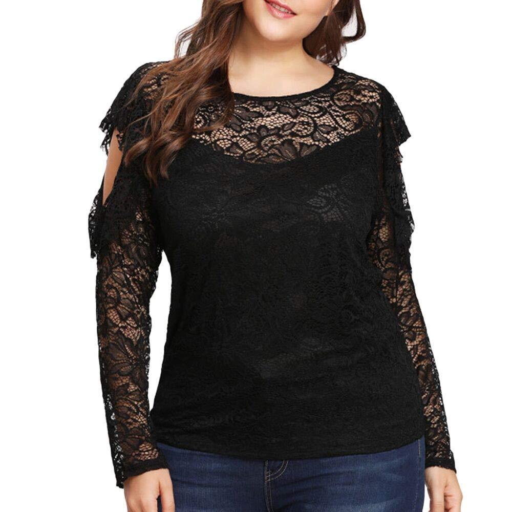 Blusa De Las Mujeres, Tops De Encaje De Damas Camisa De Costura De Cuello Redondo Talla Grande ❤ Manadlian: Amazon.es: Ropa y accesorios